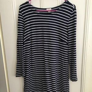 J.Crew Factory Navy Blue Striped Dress